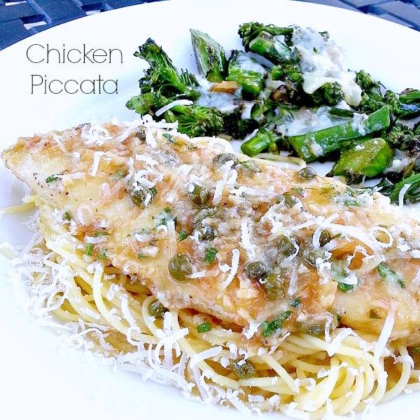 Chicken Piccata served over pasta