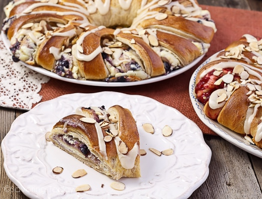 A serving of Blueberry-Cream Cheese Stollen (Danish) for Christmas morning ~ always served with a side of bacon.