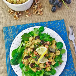 Curry Chicken Salad on Spring Greens