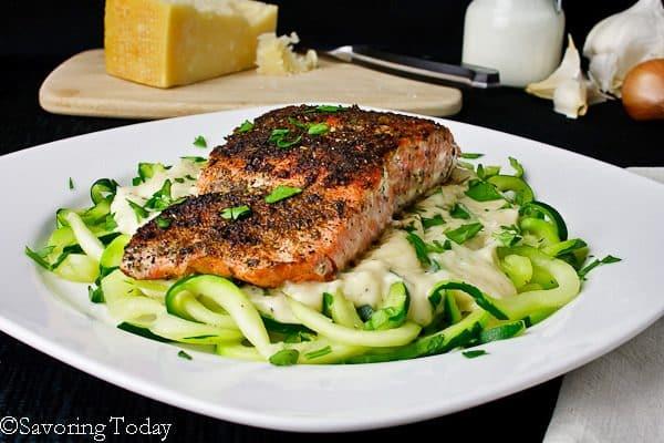 Classic creamy alfredo over spiralized zucchini noodles with Blackened Salmon