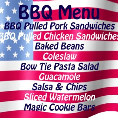 American flag with a bbq menu graphic