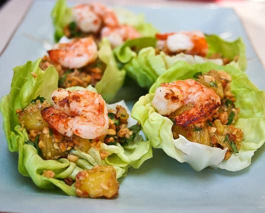 Thai-Style Shrimp and Pineapple Wraps