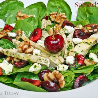 Spinach-Cherry Salad with Yogurt-Marinated Grilled Chicken