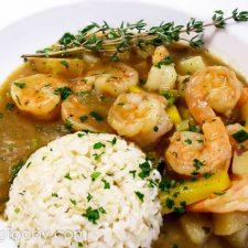 Emeril's Cajun Shrimp Stew Recipe made with savory shrimp stock in Louisiana tradition.