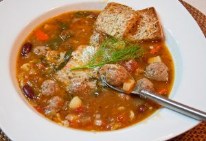 Minestrone Soup with Blue Cheese and Parmesan Meatballs with Parmesan Coutons (1 of 1)