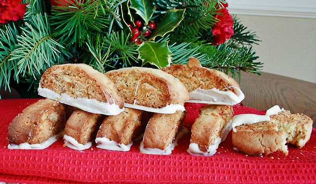 biscotti cookies on a red table cloth