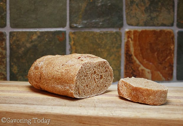Sprouted Wheat French Bread sliced to serve with olive oil and herbs.