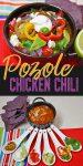 chicken chili in a black bowl