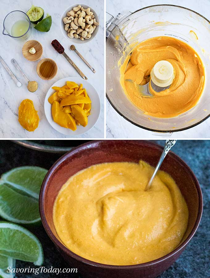 Process for making mango-lime cashew sauce