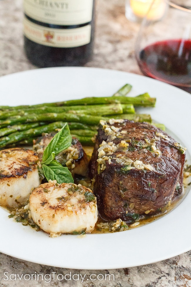 "Skip the crowded restaurants and make Scampi-Style Steak & Scallops part of your sweetheart dinner this Valentine's Day. Ready in about 30 minutes, every bites says, ""You're worth it."""