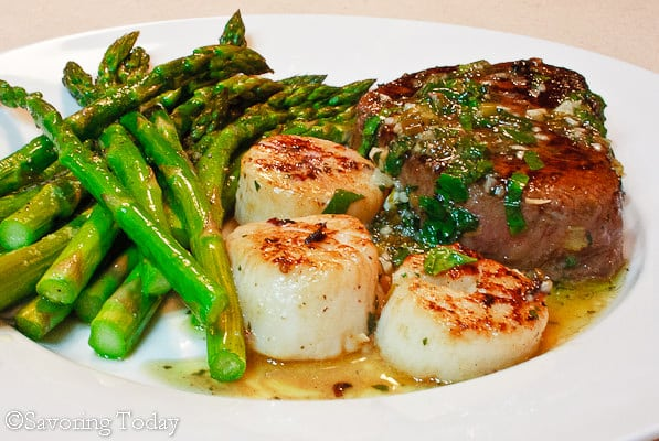 Save time and money and make with an easy romantic dinner recipe of Steak and Scallops at home.