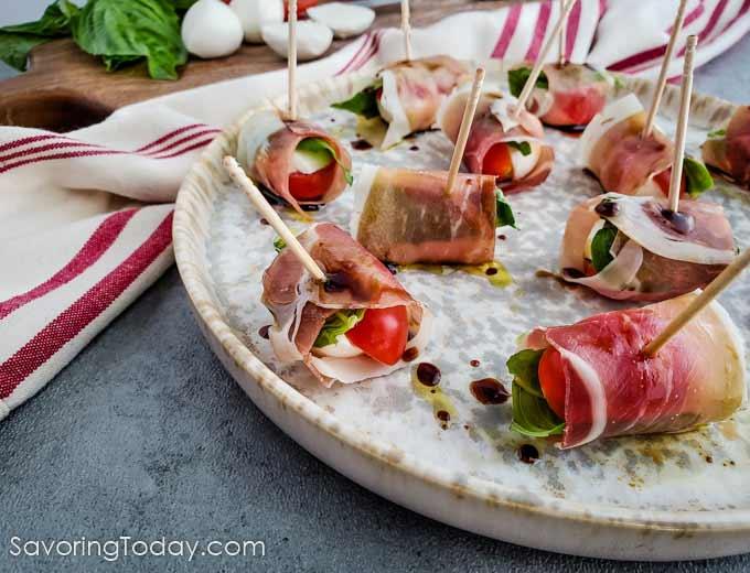 Prosciutto Wrapped Caprese Salad Bites Appetizer