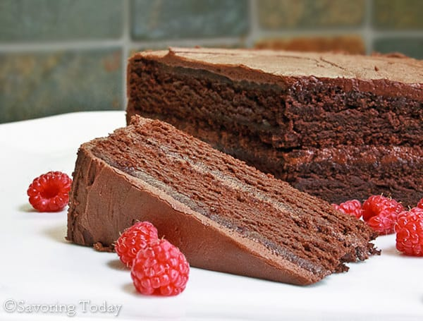 Chocolate Cake - GF - Slice with Raspberries (1 of 1)