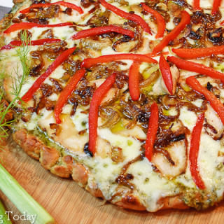Pesto, Chicken, Caramelized Onion & Fennel Pizza