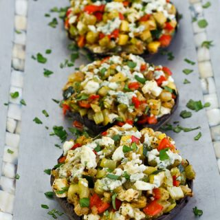 Portabella Mushrooms with Blue Cheese & Vegetable Stuffing: September Sides