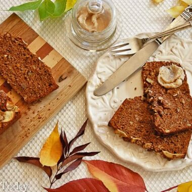 Healthy Apple Walnut Bread made with sprouted wheat.