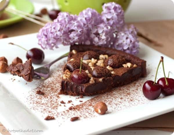 Chocolate Hazelnut Cherry Tart