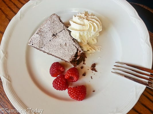 Flourless Chocolate Cake with Raspberries and Whipped Cream