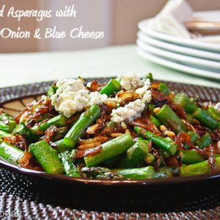 Roasted Asparagus with Caramelized Onions & Blue Cheese