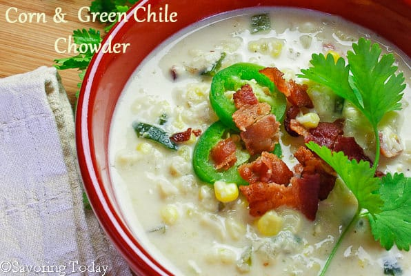 Corn & Green Chile Chowder | Savoring Today