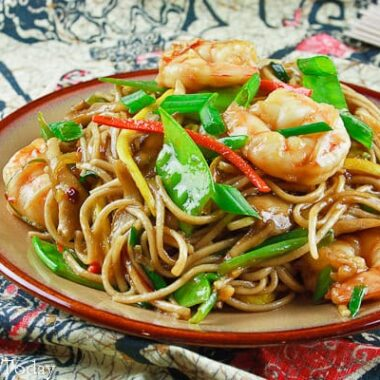 Shrimp lo mein with vegetables.