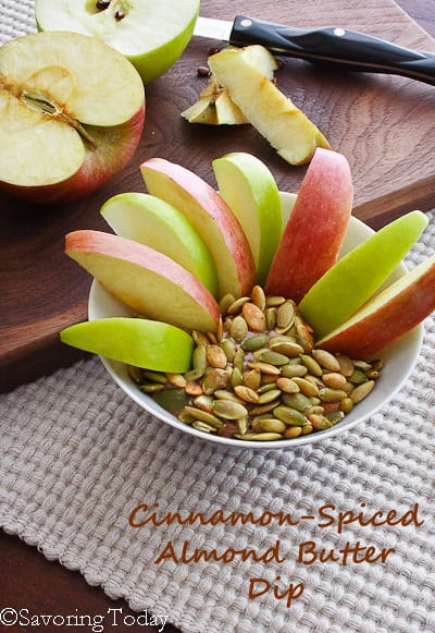 Cinnamon-Spiced Almond Butter Dip (served) | Savoring Today