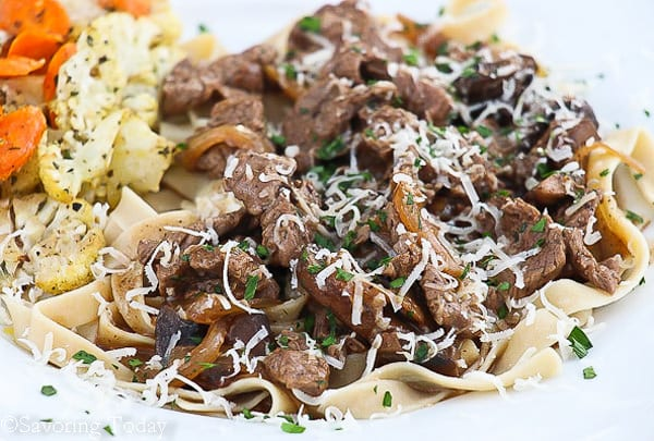 Beef Stroganoff with Jovial GF Egg Noodles | Savoring Today
