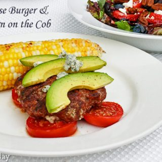 Blue Cheese Burgers with Grilled Corn | Savoring Today