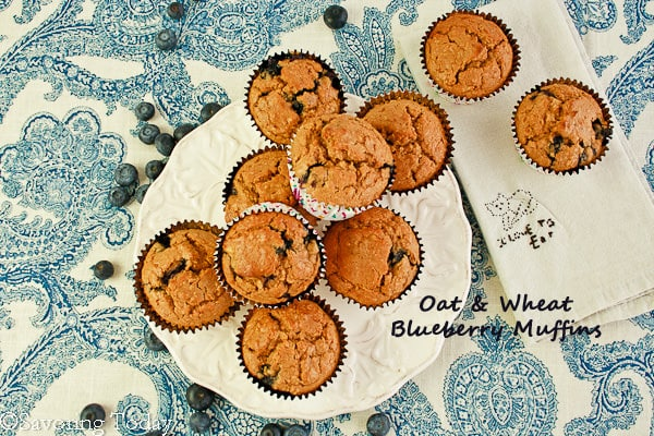 Oat & Wheat Blueberry Muffins | Savoring Today