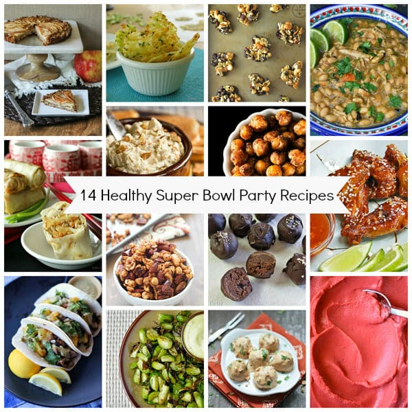 14 Healthy Football Party Recipes collage showing wings, soup, dip, egg rolls,
