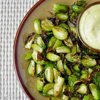 Roasted Brussels Sprouts with Roasted Garlic Aioli