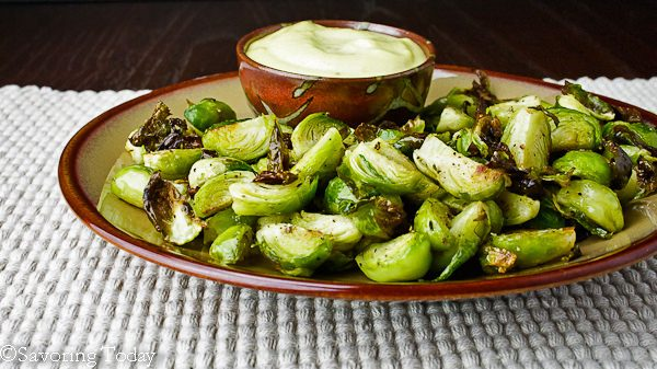Roasted Brussels Sprouts with Roasted Garlic Aioli -- ready - Savoring Today (1 of 1)