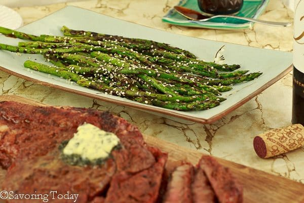 Hoisin-Sesame Grilled Asparagus - at the table | Savoring Today (1 of 1)