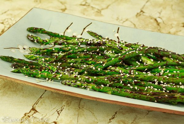 Hoisin-Sesame Grilled Asparagus - served | Savoring Today