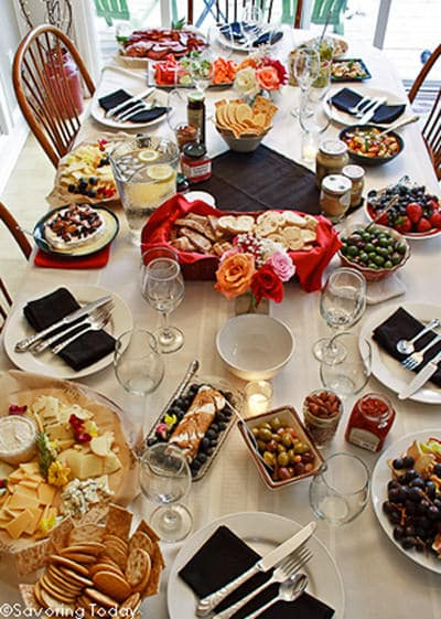 Tablescape at wine and cheese party