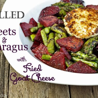 Grilled Beets and Asparagus with Fried Goat Cheese