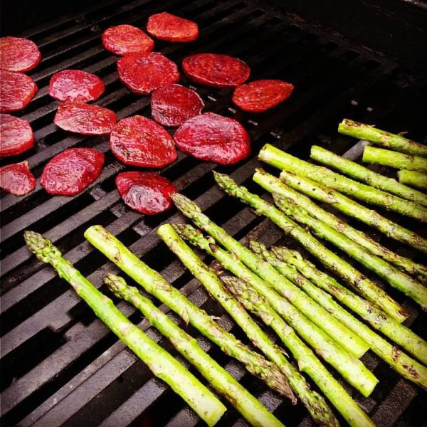 Grilling beets and asparagus on the grill brings great flavor to this dish.