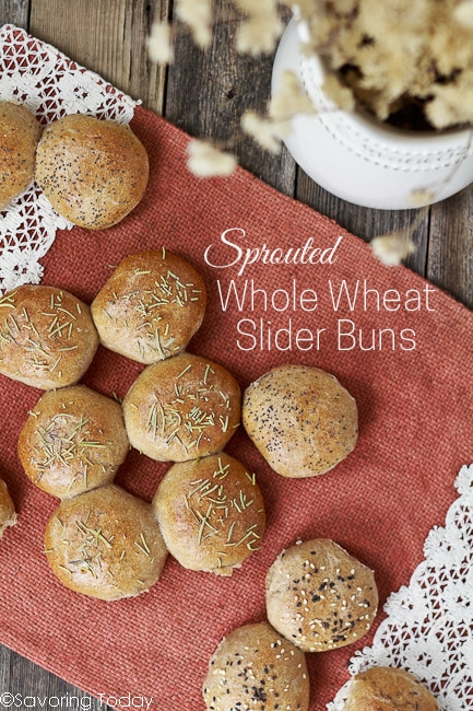 The perfect size buns for parties or simply reducing portion size. Learn to make healthy bread at home with this Sprouted Whole Wheat Slider Buns recipe. Soft, delicious bread using 100% sprouted whole wheat!