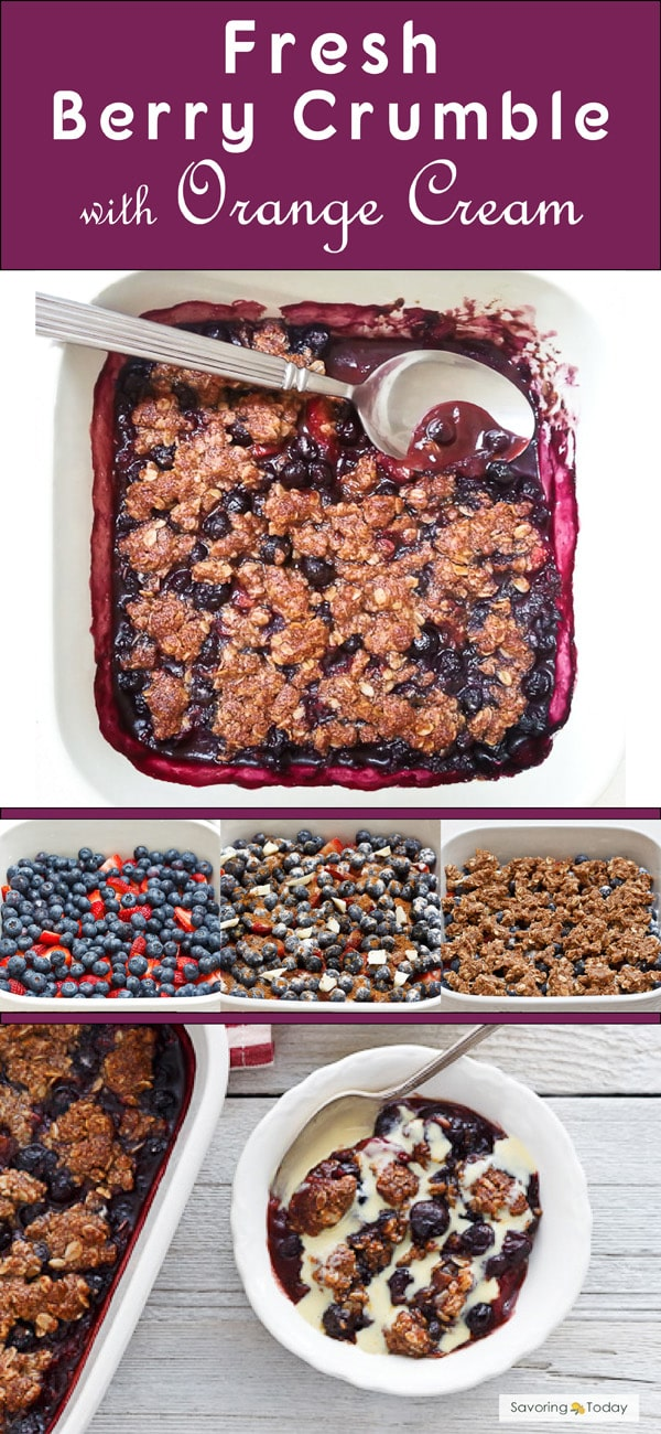 Easy Fresh Berry Crumble with Orange Cream recipe bring the best out of summer berries. You choose the mix of berries, just don't skip the orange cream that gives it that Wow!