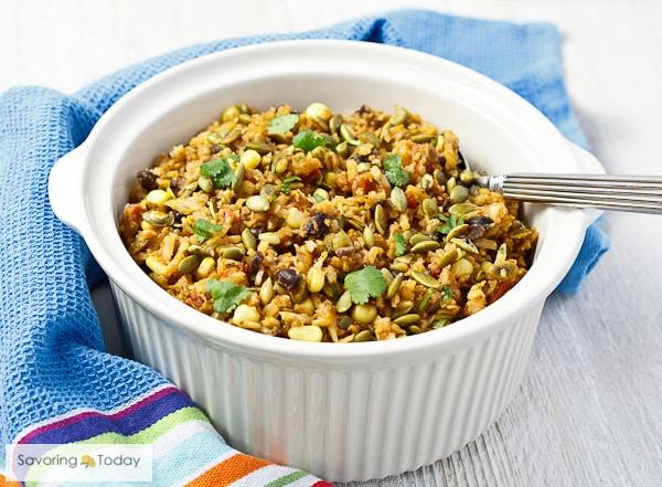 Southwest Cauliflower Pilaf with Toasted Pepitas Recipe