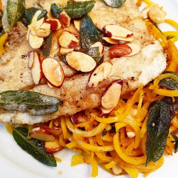 Butternut Squash in Almond and Sage Browned Butter as a bed for pan-seared fish is a delicious and healthy recipe done in under 30 minutes.