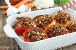 Paleo and Whole30 Compliant Sausage and Cauliflower Rice Stuffed Peppers