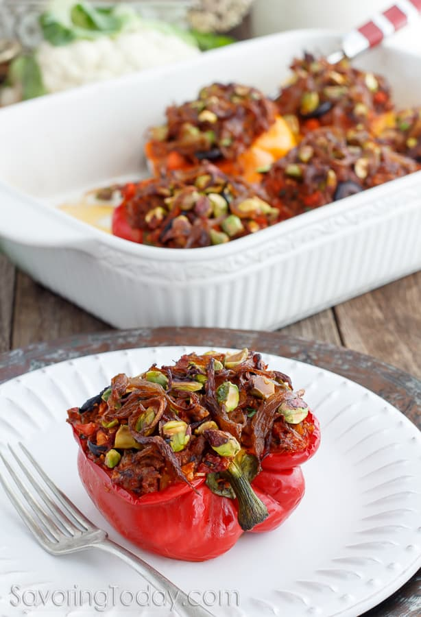 Italian Sausage and Cauliflower Rice Stuffed Pepper Recipe ~ Paleo and Whole30 Compliant ~ Gluten-free and Dairy-free too! A delicious make-ahead meal your family will love.
