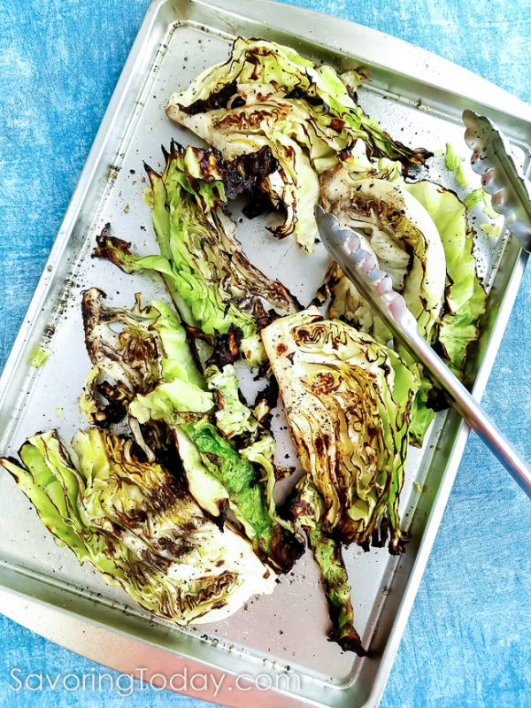 Grilled Cabbage served with Classic Caesar Dressing and Crushed Croutons is a fantastic summertime side dish.
