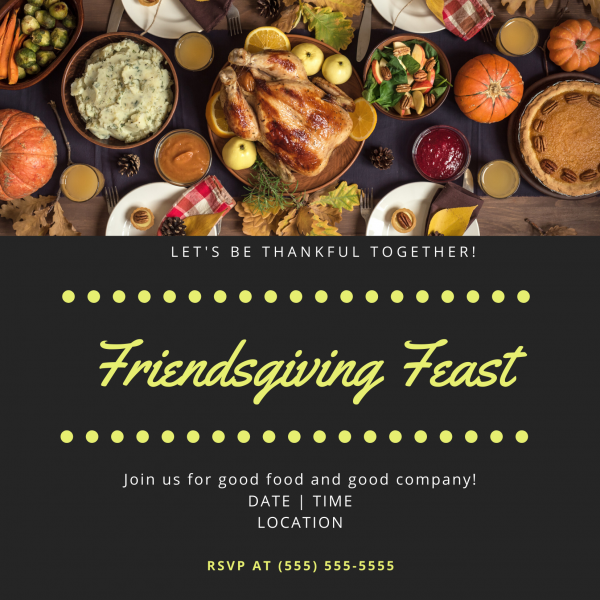 Friendsgiving invitation with a photo of food on a table.