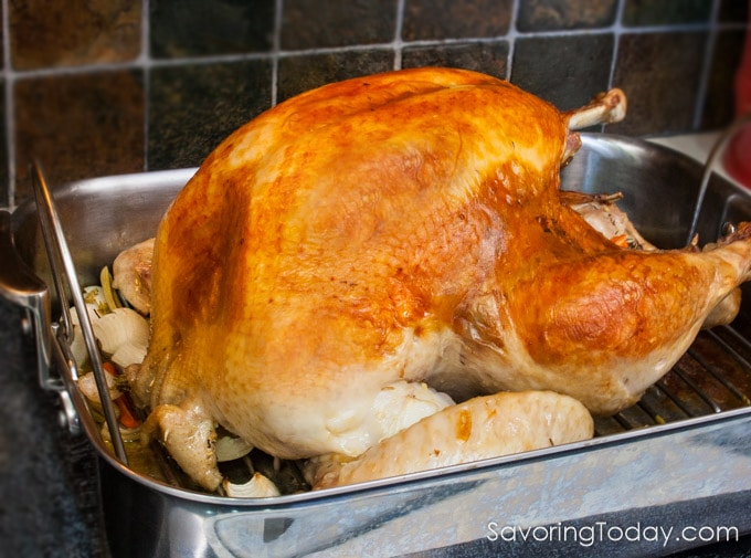 Roasted turkey in a roasting pan on the stove.
