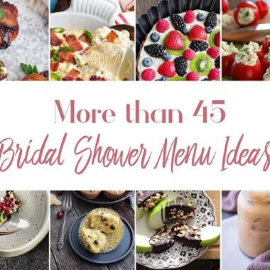 Collage of bridal shower food items.