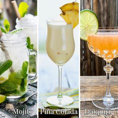 rum cocktail collage
